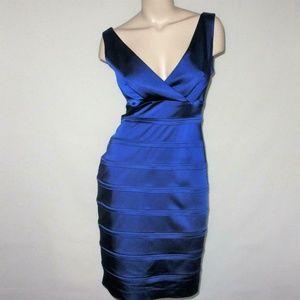 Calvin Klein 8 Sapphire Blue Satin Cocktail Dress